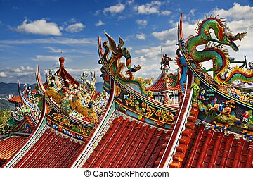 Bishan Temple in Taipei - Ornate Chinese Temple detail in...