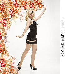 Woman in retro lingerie. - Attractive Caucasian woman...