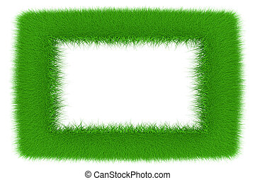 Green frame - A frame made of growing grass. 3d...