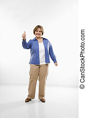 Woman giving thumbs up.