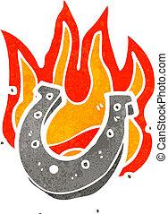 cartoon flaming lucky horse shoe