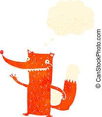 retro cartoon clever fox