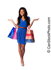Happy consumerism shopping woman - Beautiful happy smiling...