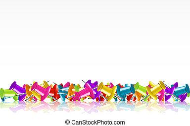Pile of Colorful Thumbtacks