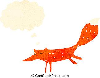 retro cartoon running fox