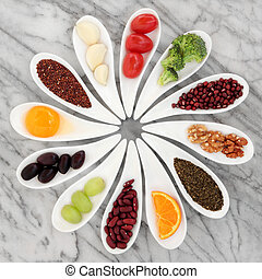 Healthy Food - Healthy super food selection in white...