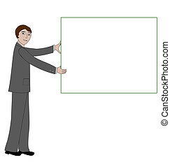 Man holding a message board - Business man holds up a blank...
