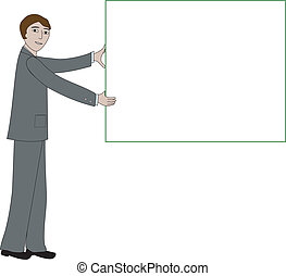 Business man with message board - Business man holds up a...