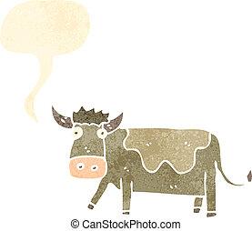 retro cartoon cow