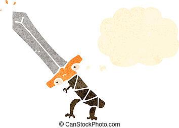 retro cartoon enchanted sword