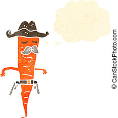 retro cartoon cowboy carrot
