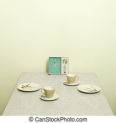 Vintage table setting - Retro 50s table setting with dishes...