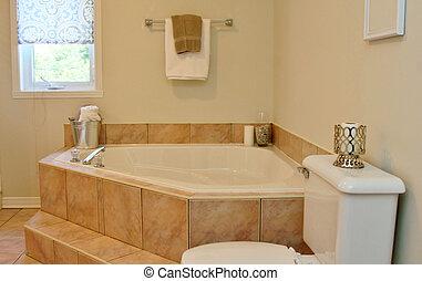 Modern bathroom with roman tub