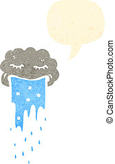 retro cartoon raincloud