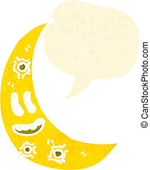 retro cartoon moon with speech bubble