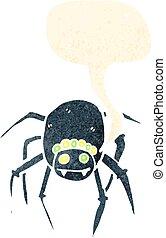 retro cartoon tarantula with speech bubble