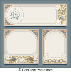 Set of sea vintage vacation frame banners, labels - Set of...