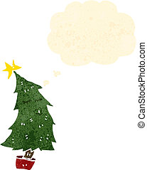 retro cartoon christmas tree with thought bubble