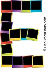 Alphabet E with colorful polaroids