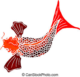 retro cartoon Japanese fish