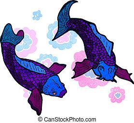 retro cartoon Japanese fish