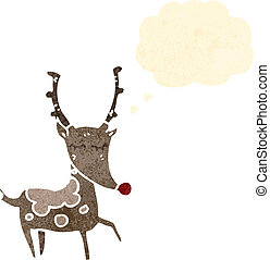 retro cartoon reindeer with thought cloud