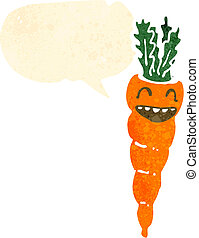 retro cartoon carrot with speech bubble