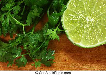Salsa, ingredientes, cal, cilantro