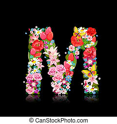 Romantic letter of beautiful flowers M