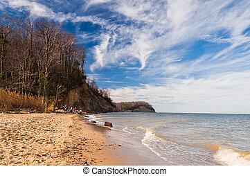 Beach and cliffs on the Chesapeake Bay at Calvert Cliffs...