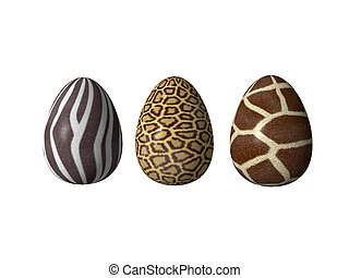 easter eggs - easter-eggs in african style - 3d illustration
