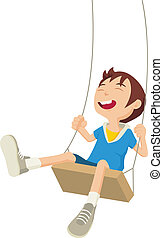 Playful - Cartoon illustration of a boy playing on a swing