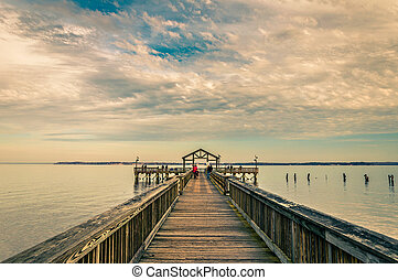 Fishing pier on the Potomac River in Leesylvania State Park,...