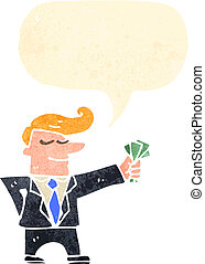 cartoon man in suit with handful of cash