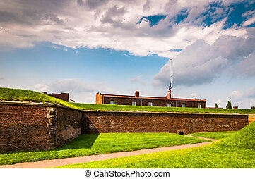 Interesting clouds over Fort McHenry, in Baltimore,...