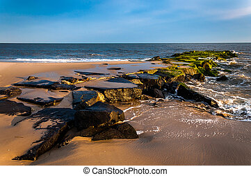 Jetty on the beach at Cape May, New Jersey. - Jetty on the...