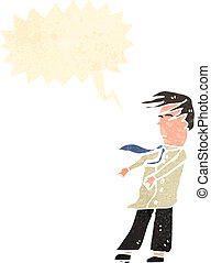 retro cartoon man in blowing wind