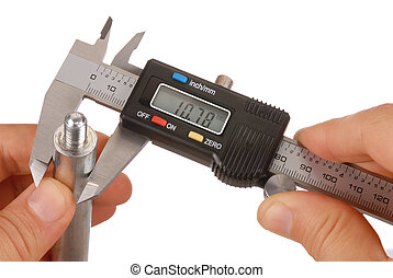Caliper - Digital caliper and hands isolated on white,...