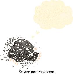 retro cartoon digging mole