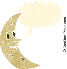 retro cartoon crescent moon