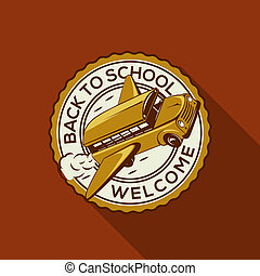 Welcome Back to school label with schoolbus