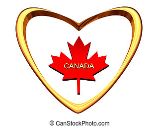 Maple leaf inside of gold heart.