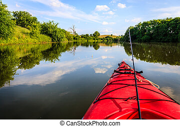 Fishing on the lake - Fishing from a kayak on a small lake...