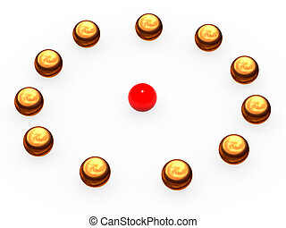 Gold spheres laid out on a circle.