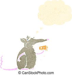 retro cartoon rat eating cheese
