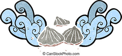 retro cartoon oysters