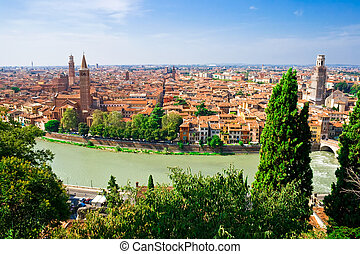 Verona - panoramic view of Verona from the high hill, Italy