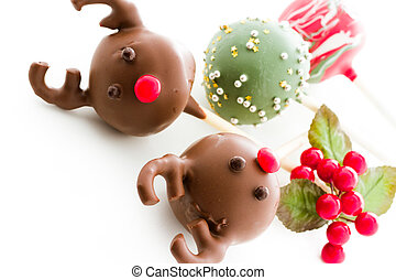 Cake pops decorated for Christmas.
