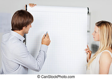 business people presenting at flipchart