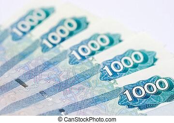 moneys coming - Five thousand roubles notes on the isolated...